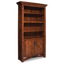 See Details - B&O Railroad Trestle Bridge Bookcase with Wood Doors on Bottom, 4 Shelves