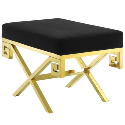 Rove Velvet Performance Velvet Bench in Gold Black