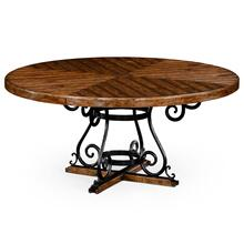 Country living style walnut and wrought iron dining table