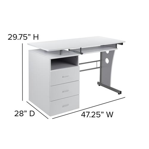 Flash Furniture - White Desk with Three Drawer Pedestal and Pull-Out Keyboard Tray