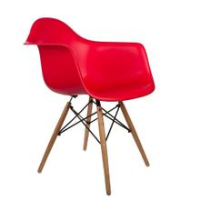 See Details - Eiffel Dining Room Arm Chair with Natural Wood Legs - Reproduction - Set-of-1, Red