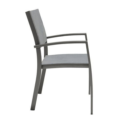 Solana Outdoor Aluminum Arm Dining Chairs in Cosmos Grey Finish - Set of 2