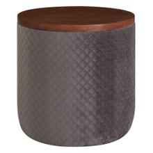 Essen Quilted Velvet Fabric Round Storage Ottoman, Walnut/ Serene Dark Gray