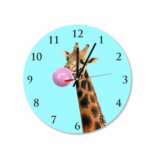 Grako Design - Giraffe With Pink Bubble Gum Round Square Acrylic Wall Clock