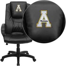 Appalachian State Mountaineers Embroidered Black Leather Executive Office Chair