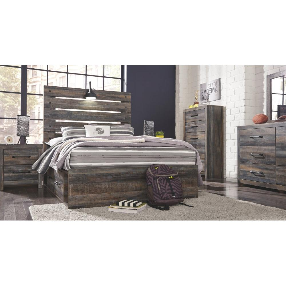 Drystan Full Panel Bed With 2 Storage Drawers