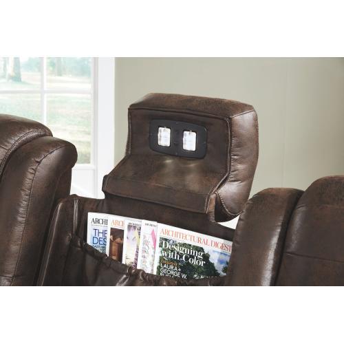 Game Zone Pwr Rec Sofa With Adj Headrest Bark
