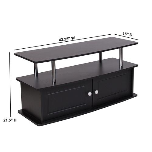 Flash Furniture - Evanston Black TV Stand with Shelves, Cabinet and Stainless Steel Tubing