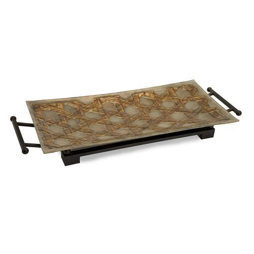 CKI Jasper Glass Tray with Metal Stand