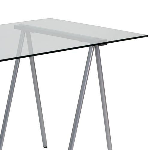 Flash Furniture - Glass Computer Desk with Silver Metal Frame