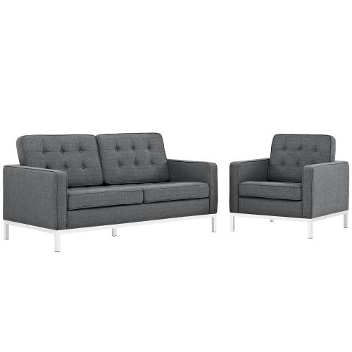 Loft Living Room Set Upholstered Fabric Set of 2 in Gray