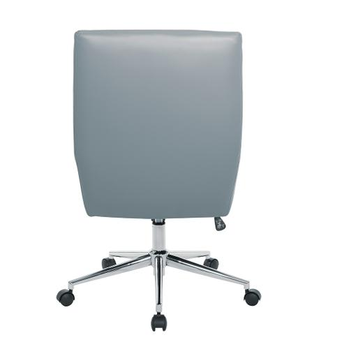 Modern Chrome Office Chair With Faux Leather