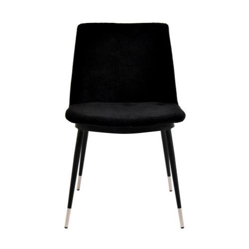 Tov Furniture - Evora Black Velvet Chair - Silver Legs (Set of 2)