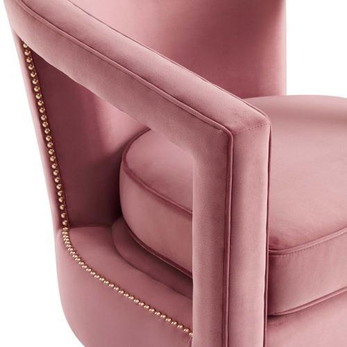 Frolick Performance Velvet Armchair in Dusty Rose