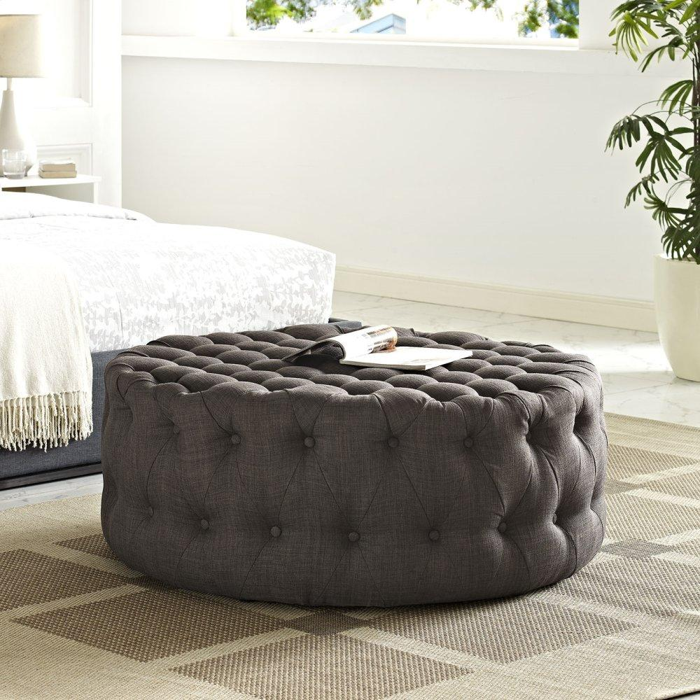 Amour Upholstered Fabric Ottoman in Brown