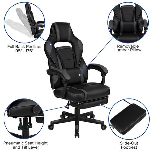 Gallery - Black Gaming Desk with Cup Holder\/Headphone Hook\/Monitor Stand & Black Reclining Back\/Arms Gaming Chair with Footrest