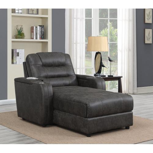 Power Reclining Chaise Lounge Chair w/Arms, Phone Charger, Cupholder & Storage - Gray