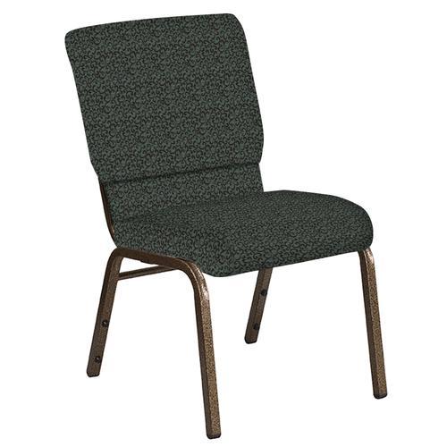 Flash Furniture - 18.5''W Church Chair in Lancaster Chocaqua Fabric - Gold Vein Frame