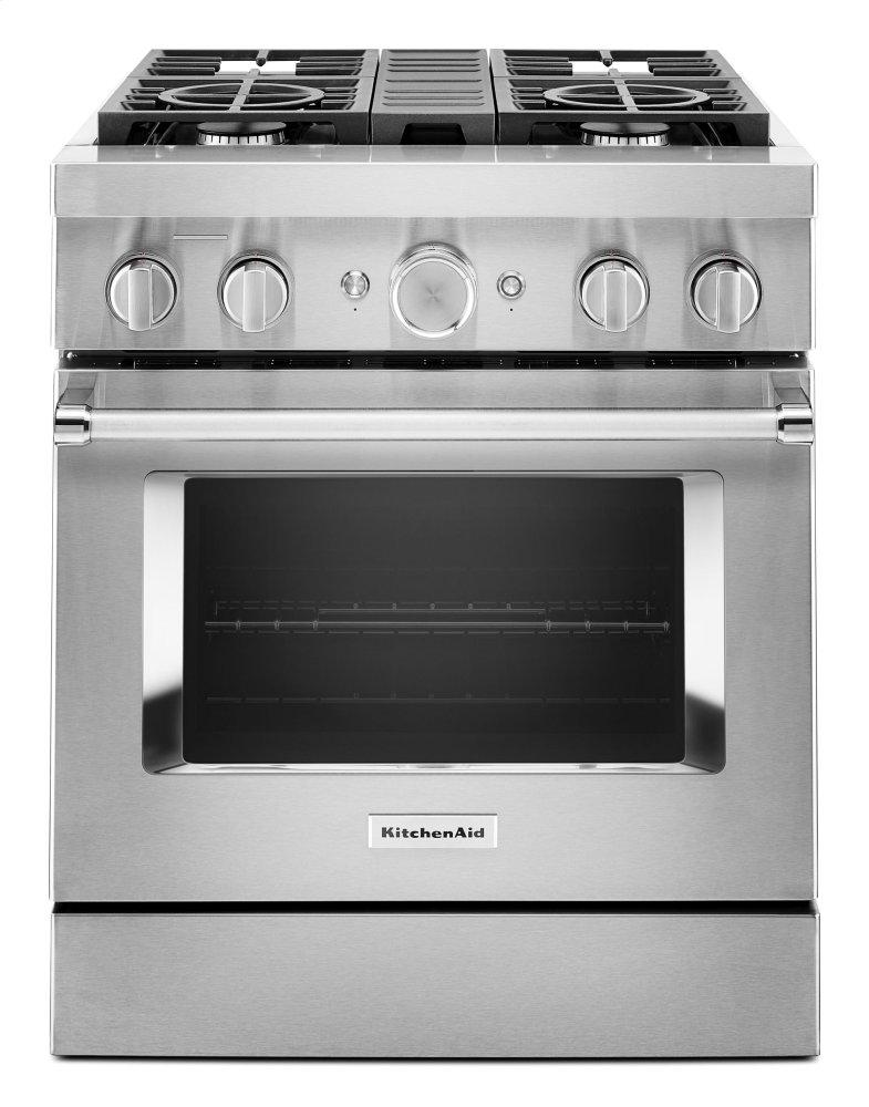 KitchenaidKitchenaid® 30'' Smart Commercial-Style Dual Fuel Range With 4 Burners - Stainless Steel