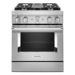 KitchenAid® 30'' Smart Commercial-Style Dual Fuel Range with 4 Burners - Stainless Steel Product Image