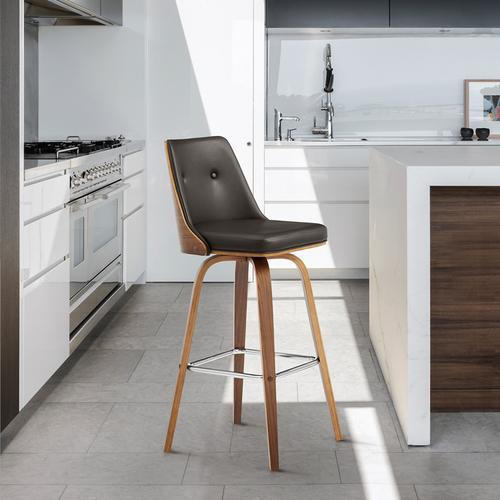 """Armen Living - Nolte 30"""" Swivel Bar Stool in Brown Faux Leather and Walnut Wood"""