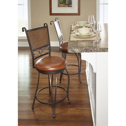 Muted Copper Stamped Back Counter Stool, Bronze and Brown