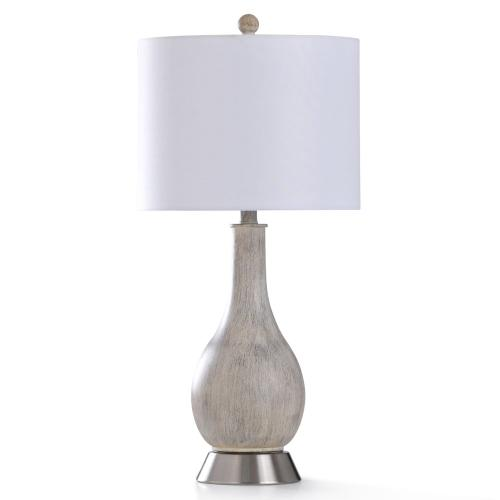 GRAY WASH TABLE LAMP  13in w. X 28in ht.  Transitional Smooth Painted Aged Egg Shell Body Table La