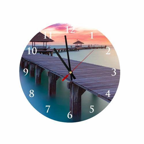 Grako Design - Beach Bridge Round Square Acrylic Wall Clock
