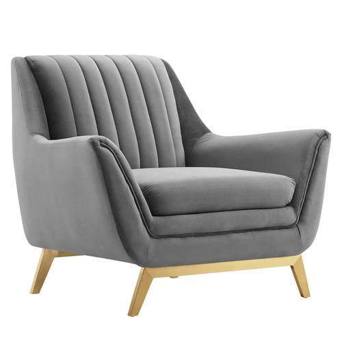 Winsome Channel Tufted Performance Velvet Armchair in Gray