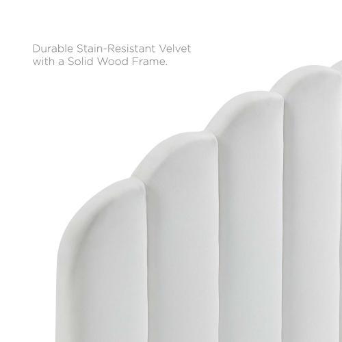 Veronique Twin Performance Velvet Headboard in White