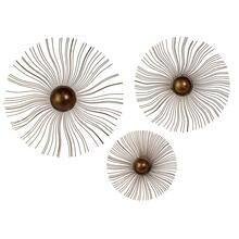 Sunburst Wall Medallions - Set of 3
