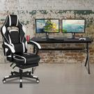 Gaming Desk with Cup Holder\/Headphone Hook\/Removable Mousepad Top & White Reclining Back\/Arms Gaming Chair with Footrest Product Image