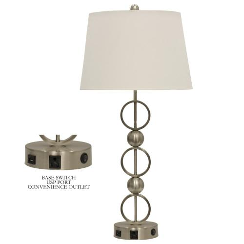 Product Image - Brushed Steel  Metal Table Lamp with Convenience Outlet USB Port & Base Switch