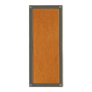 Rectangular Designer Escutcheon - G153 Silicon Bronze Brushed with Acorn Weave Leather Product Image