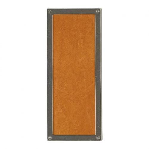 Rectangular Designer Escutcheon - G153 Bronze Dark Lustre with Brown Tapestry Leather