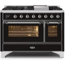 Majestic II 48 Inch Dual Fuel Natural Gas Freestanding Range in Glossy Black with Chrome Trim