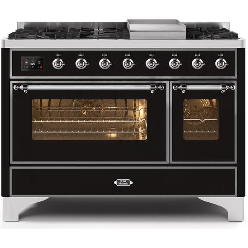 Ilve - Majestic II 48 Inch Dual Fuel Natural Gas Freestanding Range in Glossy Black with Chrome Trim