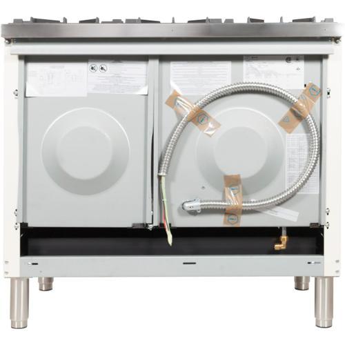 Nostalgie 40 Inch Dual Fuel Liquid Propane Freestanding Range in White with Chrome Trim
