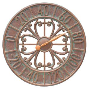 "Villanova 21"" Indoor Outdoor Wall Thermometer - Copper Vedigris Product Image"