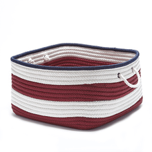"Nautical Stripe Basket AU21 Red Navy 14"" X 10"""