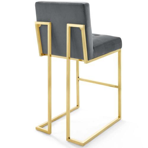 Privy Gold Stainless Steel Performance Velvet Bar Stool in Gold Charcoal