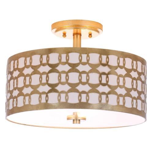 Cedar Linked 3 Light 15-inch Dia Goldflush Mount - Gold