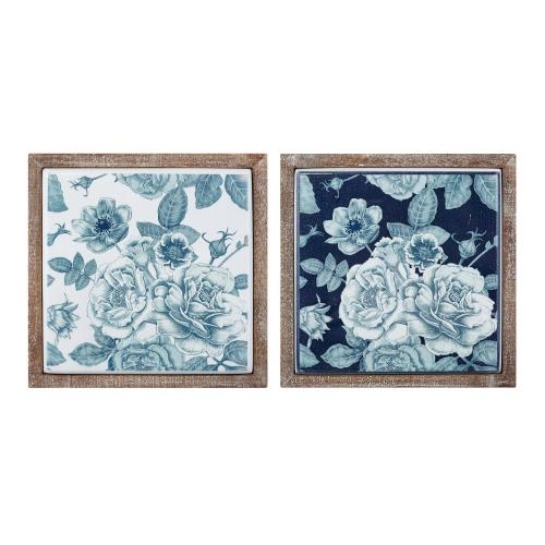 Benita Framed Metal Tile Wall Decor - Ast 2