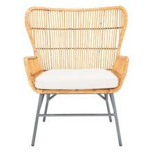 Lenu Rattan Accent Chair W/ Cushion - Natural / White / Black