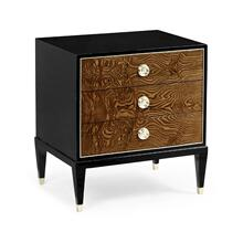 Madison Piano Black & Amber Ash Burl Nightstand