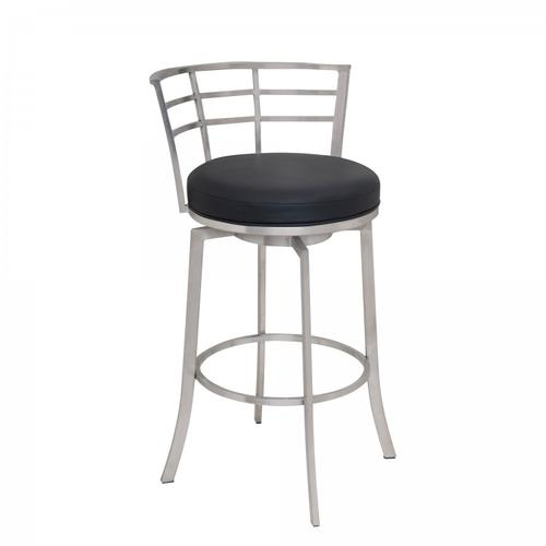 "Armen Living Viper 26"" Counter Height Swivel Barstool in Brushed Stainless Steel finish with Black Faux Leather"