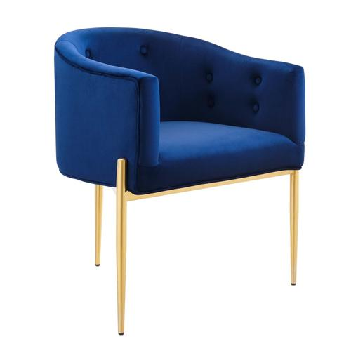 Savour Tufted Performance Velvet Accent Chairs - Set of 2 in Navy