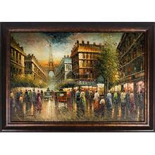 Paris Street Framed Hand Painted Art, Oil on Canvas