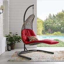 Landscape Hanging Chaise Lounge Outdoor Patio Swing Chair in Light Gray Red