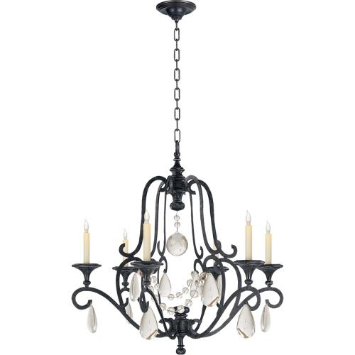 Visual Comfort CHC1420AI-SG E. F. Chapman Piedmont 6 Light 32 inch Aged Iron Chandelier Ceiling Light in Seeded Glass